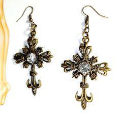 "Only $7.65! - Mid-Century Style Bronze Cross Charm Earrings, Bronze Filigree Cross Earrings, Beautiful 2 1/4"" Long Victorian Rhinestone Cross Earrings, Mid-Century Contemporary Drop Earrings, Bronze Rhinestone Cross Jewelry Under $10, Religious Earrings, Inspirational Faith Earrings, Gifts for Her, Huge Etsy Jewelry Sale - FREE USA SHIPPING https://www.etsy.com/listing/263602297/mid-century-style-bronze-cross-charm"