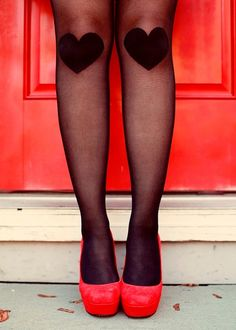 Knee heart tights and red heels