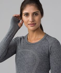 ef7ead2f Lululemon Swiftly Tech Long Sleeve Crew - Black / White - lulu fanatics  Black Capris,