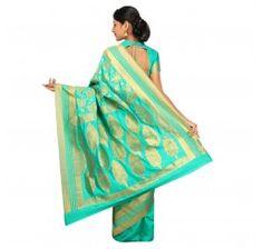 Zari work tusser silk saree in Sea green