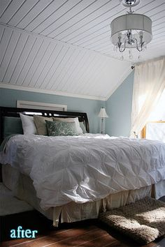 Slanted Ceiling Design Ideas, Pictures, Remodel, and Decor - like this wall color!