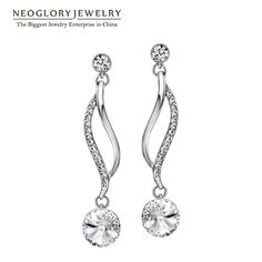 746b72a36 Austrian Crystal White Gold Plated Long Dangle Earrings For Women Girl  Brand Gifts Jewelry 2017 New