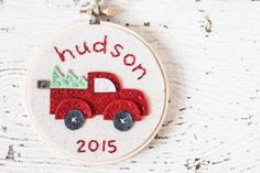 Christmas Hoop Art / Tree Ornament - Felt and Embroidery - Red pick-up truck with Christmas tree - Personalized with Name by bluewithoutyoukids on Etsy https://www.etsy.com/listing/254495422/christmas-hoop-art-tree-ornament-felt