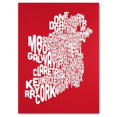 Michael Tompsett 'Ireland Text Map in ' Art