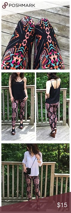 🆕 Aztec print leggings Pretty print colorful Aztec print leggings PLEASE Use the Poshmark new option you can purchase and it will give you the option to pick the size you want ( all sizes are available) BUNDLE and save 10% ( no trades price is firm unless bundled) Pants Leggings