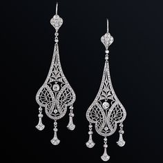 Exceptional Edwardian Diamond and Platinum Drop Earrings
