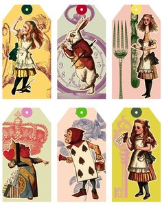 6 Alice In Wonderland Colourful Gift Tags - Glossy Card Toppers / Favors