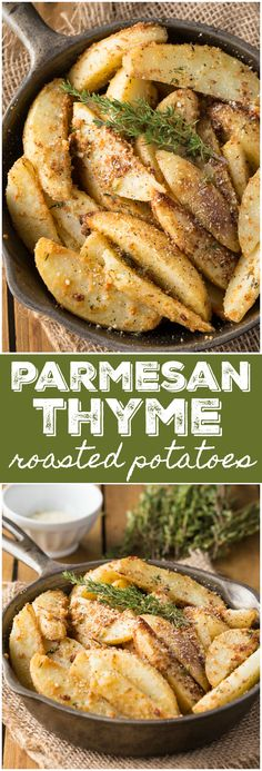 Parmesan Thyme Roasted Potatoes - Delicious and crispy! My family loved this eas. - Parmesan Thyme Roasted Potatoes – Delicious and crispy! My family loved this easy side dish. Potato Side Dishes, Side Dishes Easy, Vegetable Side Dishes, Side Dish Recipes, Vegetable Recipes, Dinner Recipes, Veggie Food, Cocktail Recipes, Paleo