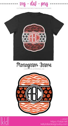 Tiger fan? You need this Tiger Monogram SVG File! The stripes, the paw prints, oh my! | Kelly Lollar Designs