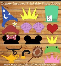 Disney Photo Props Printable Funny  DIY  24 photo booth props for party, wedding, or photo shoots. Photobooth props disney inspired.