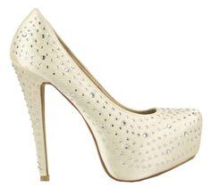 High heeled #diamante satin platform #shoes from www.sixfeetovershoes.co.uk