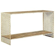 Jali Console Table - Wood Top. Inspiration for table using perforated brass on sides ala Wearstler.