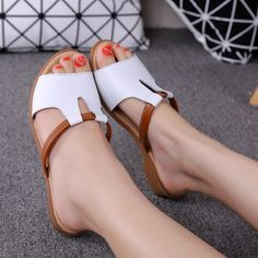 High-quality Leather Strappy Hollow Out Peep Toe Soft Wedge Heel Sandals Slippers - NewChic