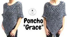 """TUTORIAL: Poncho """"Grace""""/ poncho facile uncinetto*lafatatuttofare* - YouTube"""