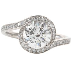 Unique GIA Cert Diamond Swirl Platinum Engagement Ring | From a unique collection of vintage engagement rings at https://www.1stdibs.com/jewelry/rings/engagement-rings/
