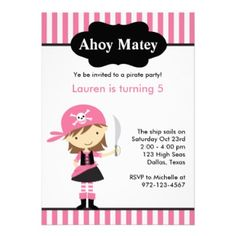 "Pink Pirate ""Ahoy Matey"" Birthday Party Invite #invitation #card"