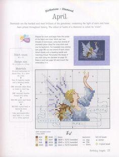 0 point de croix fée d'avril - cross stich fairy lady of april