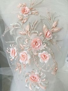 Items similar to 9 Colors Peach Exquisite Flower Pearl Bead Embroidery Lace Applique Beaded Lace Patch for Bridal Gown Dance Costume Tutu Skirt on Etsy Silk Ribbon Embroidery, Lace Applique, Machine Embroidery Patterns, Embroidery Designs, Etsy Fabric, Fabric Art, Tutu Rock, Fabric Embellishment, Linens And Lace