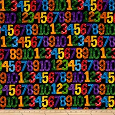 1,2,3 To The Zoo Numbers Black/Multi from @fabricdotcom  Designed by and licensed to Eric Carle for Andover Fabrics, this cotton print is perfect for quilting, apparel, and home decor accents. Colors include black, red, green, blue, orange, yellow, purple, and brown.