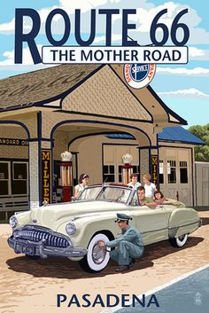Vintage Poster Wall Mural: Santa Monica, California - Route 66 - Service Station by Lantern Press : - Art Deco Posters, Car Posters, Vintage Travel Posters, Route 66, Vintage Advertisements, Vintage Ads, Vintage Ephemera, Old Poster, Poster Wall