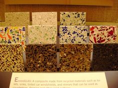 eco friendly countertops made out of recycled glass bottles