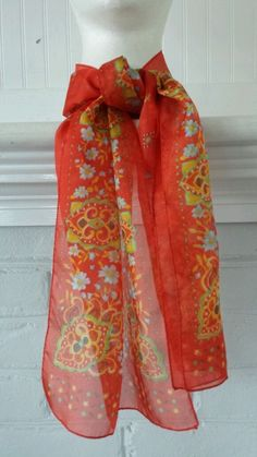 Vintage Floral Scarf Womens Rectangle Sheer Multi-Color Polyester in Clothing, Shoes & Accessories, Women's Accessories, Scarves & Wraps | eBay