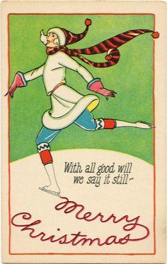 Vintage Christmas Skater Card ~ LÁMINAS VINTAGE,ANTIGUAS,RETRO Y POR EL ESTILO.... (pág. 802) | Aprender manualidades es facilisimo.com