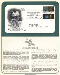 Space First Day Cover: Moon and Neptune First Day Covers, Space Exploration, One Day, Moon, The Moon