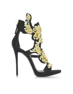 120f5e7672d Giuseppe Zanotti Black Suede High Heel Sandal w Crystal and Gold Leaf  Filigree Detail at