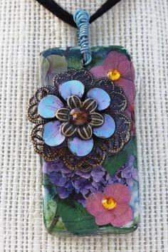 Flower Collage Domino Pendant