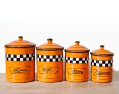 Gorgeous Vintage French Set of orange with black by FrenchBaguette, €115.00