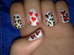 Animal print and red hearts.