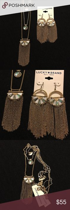 LUCKY BRAND NECKLACE & EARRINGS AUTHENTIC LUCKY BRAND ❤️new never used ❤️gold and silver plated ❤️mother of pearl stones ❤️necklace adjustable 18-20 inches  ❤️earrings dangle about 3 1/2 inches  ❤️selling as a set only ❤️SORRY NO TRADING ❤️reasonable offers welcomed ❤️no low balling pretty please ❤️ships within 24 hours ❤️thanks for stopping by my closet Lucky Brand Jewelry Necklaces