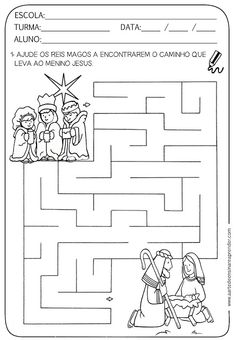 Atividades pronta - Labirinto com temática natalina Christmas Maze, Man Crafts, Three Wise Men, Kits For Kids, Sewing Patterns Free, Free Sewing, Kings Day, Colouring Pages, Fun Learning