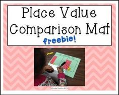 """FREE MATH LESSON - """"Place Value Comparison Mat FREEBIE!"""" - Go to The Best of Teacher Entrepreneurs for this and hundreds of free lessons. Kindergarten - 2nd Grade  #FreeLesson  #Math   http://thebestofteacherentrepreneursiv.blogspot.com.co/2016/10/free-math-lesson-place-value-comparison.html"""