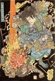 Scene: The ghost of Akugenda Yoshihira exacting revenge on his slayer, Namba Jirô with a burning thunderbolt  Publisher: Nishimura-ya Yohachi  Date: c. 1834-1835
