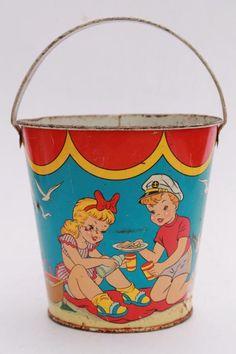 vintage tin toy sand pail bucket, Ohio Art print metal bright colorful children beach