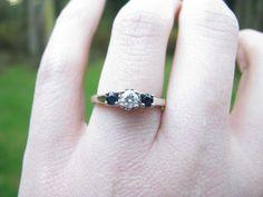 Vintage 14K White Gold Diamond and Blue Sapphire Three Stone Ring - Pretty Setting. $224.00, via Etsy.
