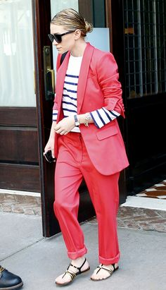 Ashley Olsen wears a striped tee with a bold red suit (and looks amazing). // #StreetStyle #OutfitIdeas