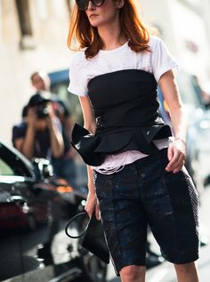Extend your wear of a bustier into day, layer a white tshirt underneath. www.stylestaples.com.au