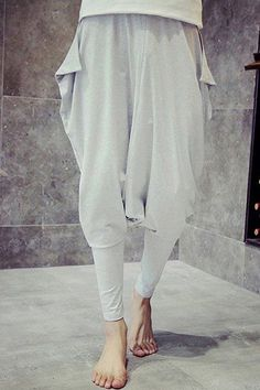 Elastic Waist Irregular Design Low-Crotch Narrow Feet Pants For Men Low Crotch Pants, Slouchy Pants, Sammy Dress, Trousers, Harem Pants, Japanese Fashion, Latest Fashion Trends, What To Wear, Style Me