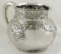 Ornate Dominick & Haff sterling silver water pitcher, c1892 (supershrink)