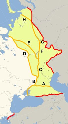 Conventions used for the boundary between Europe and Asia during the 18th and 19th centuries. The red line shows the modern convention, in use since