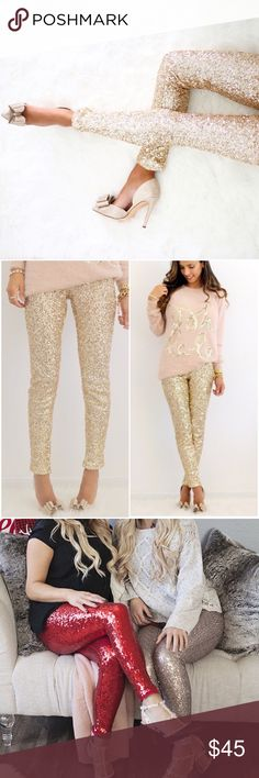Bring on the Champagne  Gold Sequin Leggings Brand new with tags super gorgeous champagne gold sequin leggings. Size large, slight stretch. These pants are ready to paaaaaaaarrrrrrrrttttttttttyyyyyyy . Also available in red in another listing Pants Leggings