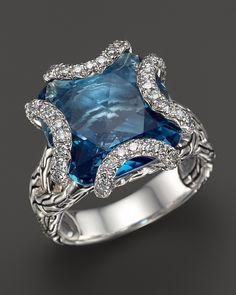 John Hardy Batu Classic Chain Sterling Silver Medium Braided Ring with London Blue Topaz and Diamonds on shopstyle.com