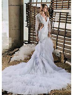 ajuste alineada boda& estilo sala de v-cuello llamarada