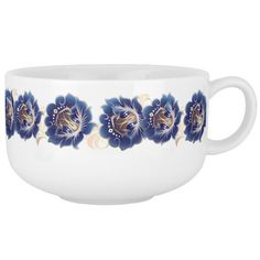 Large Abstract Blue Flower Wreath Soup Mug 2