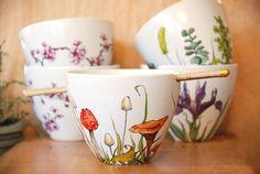 Custom Painted with Any Botanical Design - White Ceramic Noodle Bowl