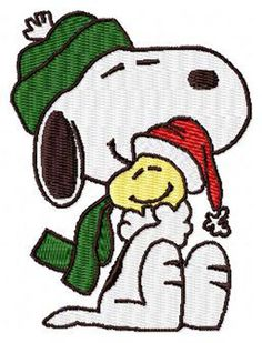 Snoopy Hugging Woodstock Christmas Machine Embroidery Design - Instant Digital Download Embroidery File