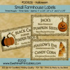 Farmhouse Labels - Halloween